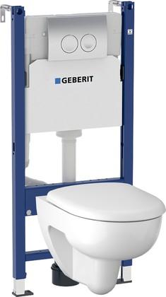 Унитаз с инсталляцией Geberit Renova, крышка-сиденье, кнопка хром 500.124.21.R