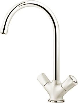 Классический кухонный вентильный смеситель с высоким изливом, хром / белый Blanco AMONA 520772