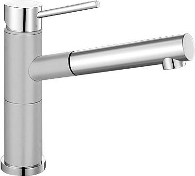 Небольшой кухонный однорычажный смеситель с выдвижным изливом, хром / жемчужный Blanco ALTA-S Compact 520730