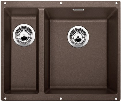 Кухонная мойка без крыла, основная чаша справа, с клапаном-автоматом, гранит, кофе Blanco SUBLINE 340/160-U 520410