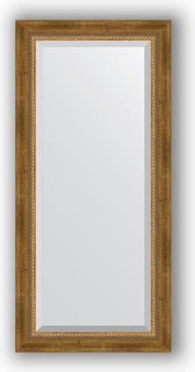 Зеркало с фацетом в багетной раме 53x113см состаренное бронза с плетением 70мм Evoform BY 3484