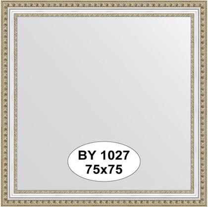 Зеркало 75x75см в багетной раме бусы платиновые Evoform BY 1027