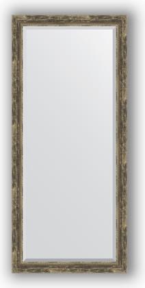 Зеркало с фацетом в багетной раме 73x163см старое дерево с плетением 70мм Evoform BY 3590