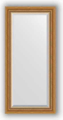 Зеркало с фацетом в багетной раме 53x113см состаренное золото с плетением 70мм Evoform BY 3483