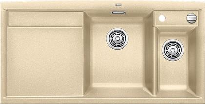 Кухонная мойка чаши справа, крыло слева, с клапаном-автоматом, с коландером, гранит, шампань Blanco Axia II 6 S 516824