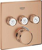 Термостат для душа Grohe Grohtherm SmartControl, 3 потребителя, квадратный, тёплый закат матовый 29126DL0