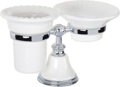 Держатель настольный с мыльницей и стаканом керамика, белый/хром TW Harmony TWHA141bi/cr