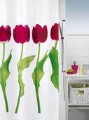 Штора для ванны 180x200см текстильная красная Spirella TULIPA 1014423
