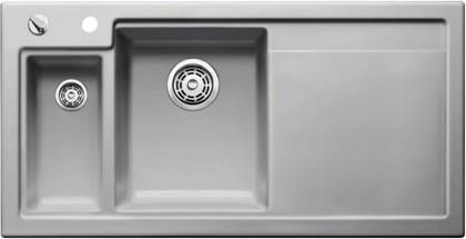Кухонная мойка чаши слева, крыло справа, с клапаном-автоматом, с коландером, керамика, серый алюминий Blanco Axon II 6 S PuraPlus 516551