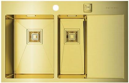 Кухонная мойка с правым крылом, нержавеющая сталь, золото Omoikiri Akisame 78-2-LG-L 4993087