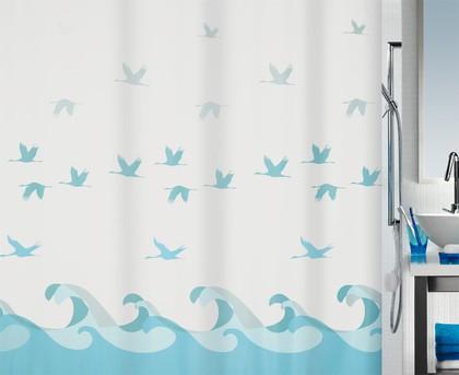 Штора для ванны 180x200см текстильная голубая Spirella CRANE 1016738