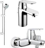 Комплект из душевого гарнитура и смесителей для ванны и раковины, хром Grohe EUROSMART Cosmopolitan 116938