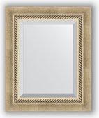 Зеркало Evoform Exclusive 430x530 с фацетом, в багетной раме 70мм, состаренное серебро с плетением BY 1354