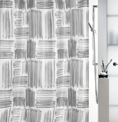 Штора для ванной комнаты 180x200см текстильная, серая Spirella GRAFFIO 1017904