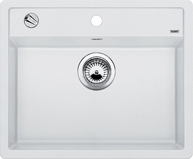 Кухонная мойка без крыла, с клапаном-автоматом, гранит, белый Blanco Dalago 6-F 514771