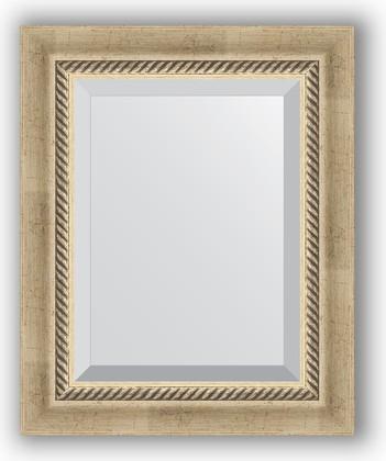 Зеркало 43x53см с фацетом 30мм в багетной раме старое серебро с плетением Evoform BY 1354