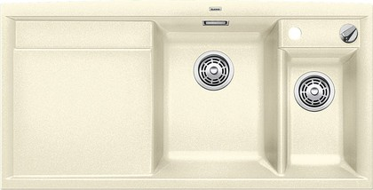Кухонная мойка чаши справа, крыло слева, с клапаном-автоматом, с коландером, гранит, жасмин Blanco Axia II 6 S-F 516878