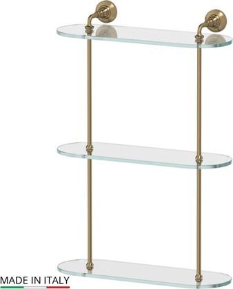 Полка для ванной 40см стеклянная тройная, бронза 3SC STI 517