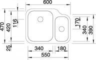 BLANCO YPSILON 550-U Схема с размерами вид сверху
