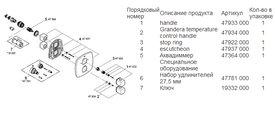Термостат для душа встраиваемый без встраиваемого механизма и без подключения шланга, хром Grohe GRANDERA 19937000