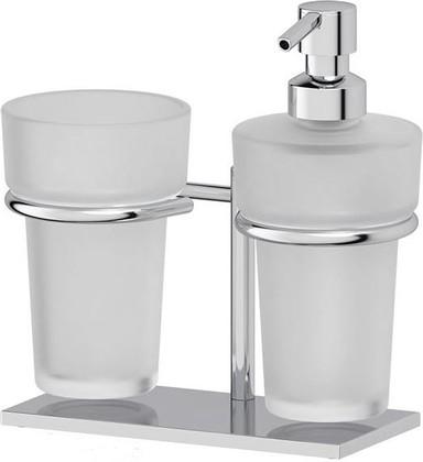 Стакан с дозатором для жидкого мыла Ellux Domino настольный, матовый хрусталь, хром DOM 003/ELU 002/ELU 004