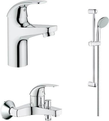 Комплект из душевого гарнитура и смесителей для ванны и раковины Grohe BauCurve 122251