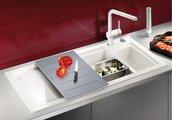 Кухонная мойка чаши слева, крыло справа, с клапаном-автоматом, с коландером, керамика, магнолия глянцевая Blanco AXON II 6 S PuraPlus 519607