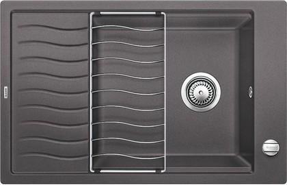 Кухонная мойка оборачиваемая с крылом, с клапаном-автоматом, гранит, тёмная скала Blanco Elon XL 6 S 518736