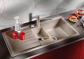 Кухонная мойка оборачиваемая с крылом, с клапаном-автоматом, коландером, гранит, серый беж Blanco Lexa 6 S 517337