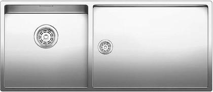 Кухонная мойка основная чаша слева, без крыла, нержавеющая сталь зеркальной полировки Blanco Claron 400/550-Т-U 517234