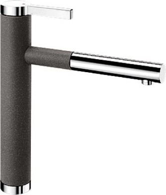 Смеситель кухонный однорычажный с выдвижным изливом, антрацит / хром Blanco LINEE-S 518438
