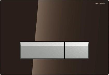 Клавиша двойного смыва со встроенной системой удаления запаха, коричневое стекло и полированный алюминий Geberit Sigma40 115.600.SQ.1