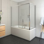 Шторка на ванну Roth Lega LLV2+LLVB, 120x70см, прозрачное стекло, хром 572-1200000-00-02/573-7000000-00-02