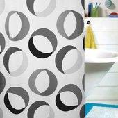 Штора для ванной Spirella Rings, 180x200см, текстиль, серо-чёрный 1015184