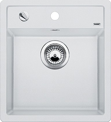Кухонная мойка без крыла, с клапаном-автоматом, гранит, белый Blanco Dalago 45-F 517169