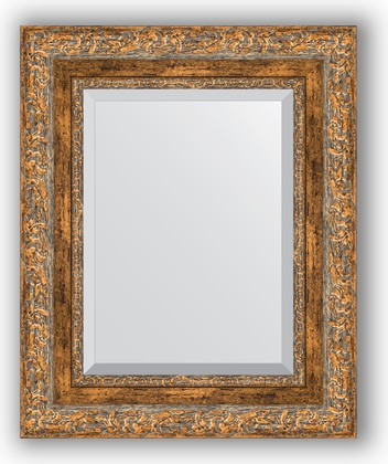 Зеркало с фацетом в багетной раме 45x55см виньетка античная бронза 85мм Evoform BY 3358
