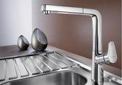 Смеситель кухонный однорычажный с высоким, выдвижным изливом, хром Blanco AVONA-S 521277