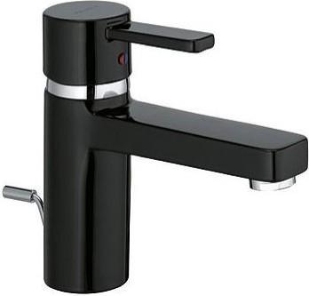 Смеситель для раковины однорычажный с донным клапаном, чёрный / хром Kludi ZENTA 382608675
