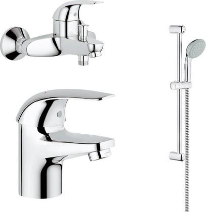 Комплект из душевого гарнитура и смесителей для ванны и раковины Grohe Euroeco 124428