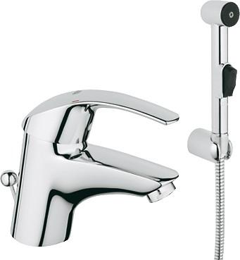 Смеситель однорычажный с донным клапаном для раковины с гигиеническим душем, хром Grohe EUROSMART Hygienica 33446001