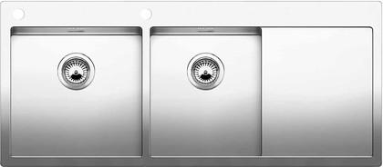 Кухонная мойка чаши слева, крыло справа, с клапаном-автоматом, нержавеющая сталь зеркальной полировки Blanco Claron 8 S-IF/А 514004