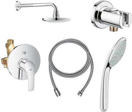 Душевая система  Grohe Eurosmart, смеситель встраиваемый, верхний душ, ручной душ, хром 124440