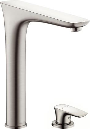 Смеситель для кухни на 2 отверстия однорычажный с поворотным изливом, сталь Hansgrohe PuraVida 15812800
