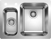 Кухонная мойка Blanco Supra 340/180-IF/A, клапан-автомат, полированная сталь 523367