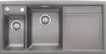 Кухонная мойка чаши слева, крыло справа, с клапаном-автоматом, с коландером, гранит, алюметаллик Blanco Axia II 6 S 516829