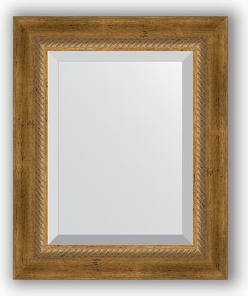 Зеркало с фацетом в багетной раме 43x53см состаренное бронза с плетением 70мм Evoform BY 3354