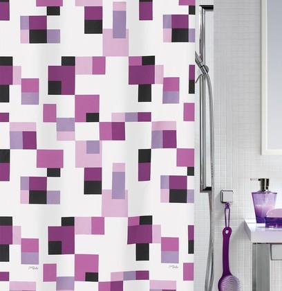 Штора для ванны 180x200см сиреневая, текстиль Spirella PIXEL 1014600