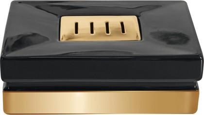 Мыльница керамическая, чёрный/золото Spirella Roma 1017982