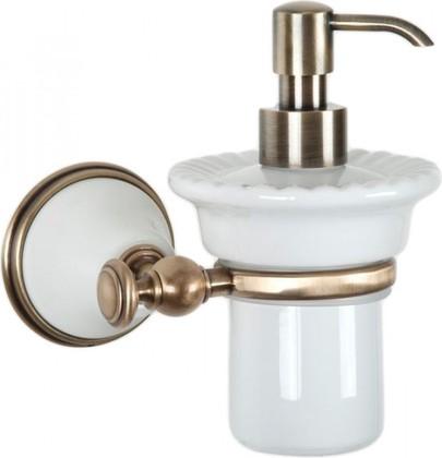 Дозатор для жидкого мыла керамический, белый/бронза TW Harmony TWHA108bi/br