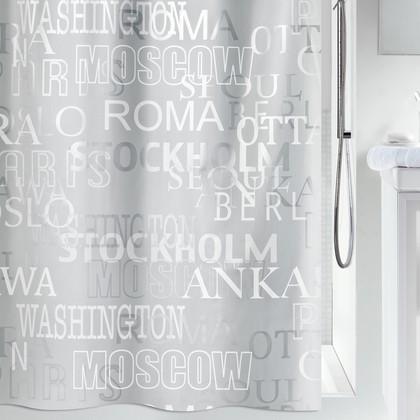Штора для ванны 180x200см бело-серая Spirella CITIES 1013044